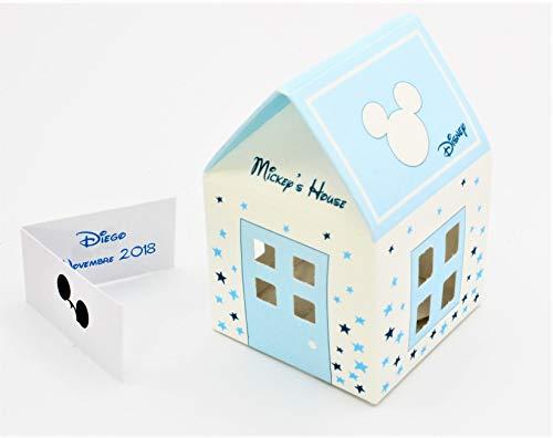 N.20 scatola bomboniera portaconfetti nascita battesimo compleanno comunione completo di bigliettino tipo casetta mikey stars disney celeste