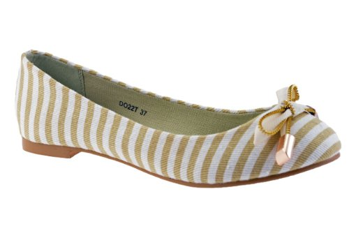 F. Milano Charnière Ballerines Neuf Chaussures . Beige