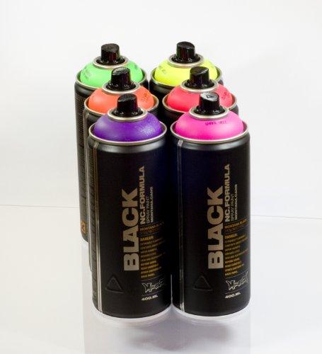 Montana BLACK Sprühdosen Neon Farben Set 6 x 400ml