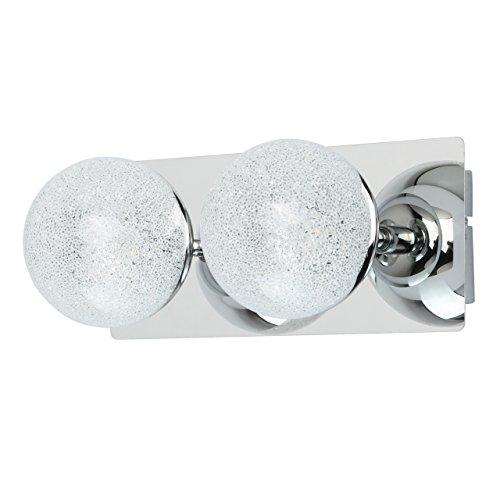 DeMarkt 707020302 Applique Murale Double à 2 Lampes Design Moderne en Métal couleur Chrome Globes en Verre avec Miettes de Crystal pour Chambre Salle de Bain 2x5W LED incl.