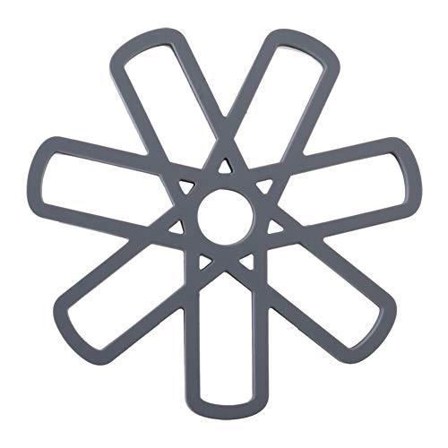 Leisial Set de Table en Silicone avec Forme Pétale Tapis de Table Antidérapant Resistant à la Chaleur Napperon Résistance à l'abrasion(Gris)