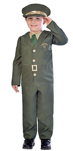 Fancy Me Jungen WW2 Grün Soldaten Armee Militär Historisch Uniform TV Buch Film Kostüm Kleid Outfit 5-12 Jahre - Grün, 7-8 years (Grüne Armee Soldat Kostüm)
