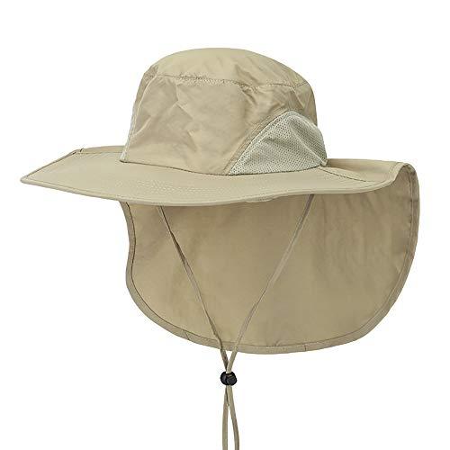 Outdoor Angeln Hut mit Neck Flap Cover breiter Krempe Sun Cap für Männer Frauen Jagd, Wandern, Camping, Bootfahren,Khaki -