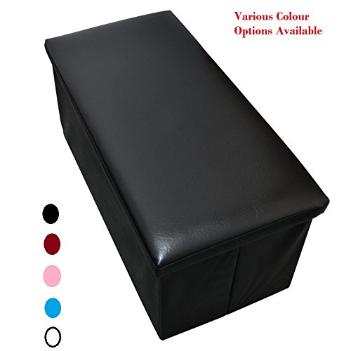 large-black-faux-leather-luxury-ottoman-pouffe-stool-folding-storage-box-collapsible