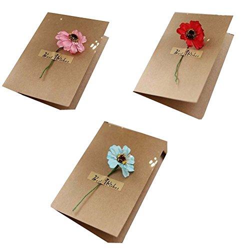 Set von 3 handgefertigten Blumen-Grußkarten Geburtstag/Festival-Karten
