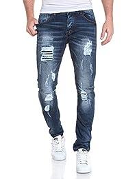 BLZ jeans - Jean homme bleu fashion délavé déchiré et coutures contrastées