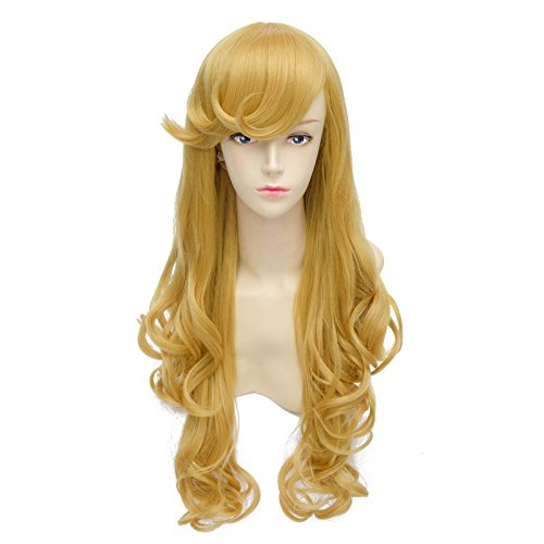 LanTing Cosplay Perücke Sleeping Beauty Princess Aurora Gold Lange Perücke Styled Frauen Cosplay Party Fashion Anime Human Costume Full wigs Synthetic Haar Heat Resistant Fiber (Frauen Kostüm Aurora)