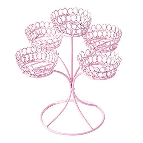 Baoblaze Edelstahl Cupcake Ständer, Kuchenständer mit 5pcs Becher für Cupcakes Desserts - Rosa