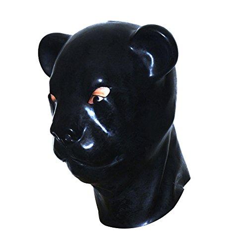 EXLATEX Latex Hood Leopard Tier Gummi Maske Fetisch Zubeh?r mit (Kostüm Kondom Ganzkörper)