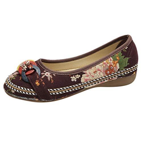 COZOCO Frauen ethnische Perlen Bunte Casual bestickte Schuhe Holz Hanf Seil Schuhe gedruckt Tuch Schuhe(braun,40 EU)