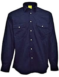 f83377a2bc6 Lemon & Soda Mens Longsleeve Pre-Washed 100% Brushed Cotton Twill Navy Shirt