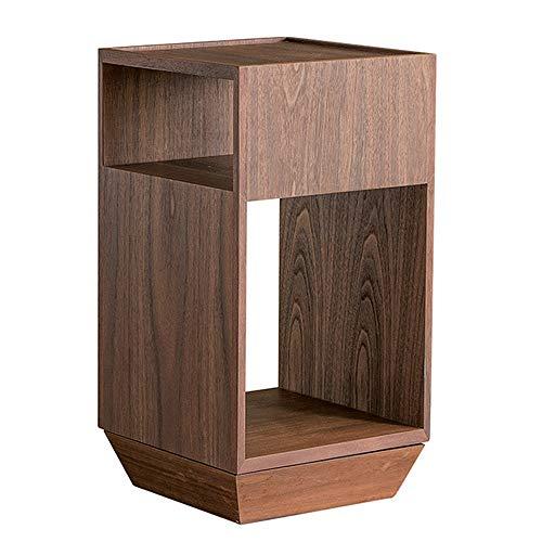 Cabinet tournant carré/Chambre de séjour Moderne Petite Table de Nuit latérale/Rangement, Noyer, Noir (32 × 32 × 60cm)