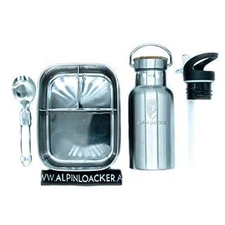 Alpin Loacker Edelstahl Lunchbox Flaschen Set für Kinder und Schüler mit Faltgöffel Brotdose, Brotbox, Vesperbox, Vesperdose mit Fächern, Trennwand   Bento Box für Kinder mit 350ml Thermosflasche