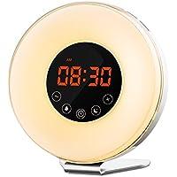 Wake Up Light, Nehome LED Despertador de Luz, Simulación de Amanecer y Atardecer, Radio FM, Control Táctil, Función de Snooze, con 7 Colores Ajustables