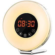 Wake up luz Despertador, nehome LED Luz Despertador Simulación del Amanecer Luz de día Despertador con puesta del sol Fading Luz nocturna, FM Radio & Función Snooze