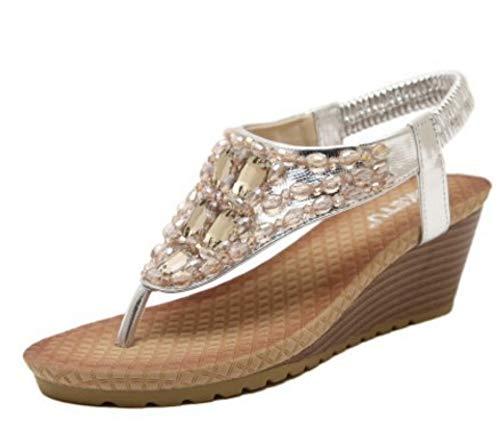 YYAMO Sandalias de Mujer Zapatos de tacón de cuña de Estilo Bohemio Sandalias de Chanclas con Diamantes...