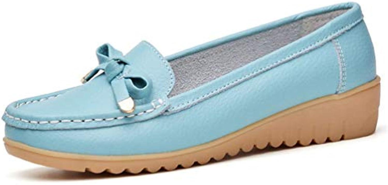 Femmes Femmes Femmes Ballerines Chaussures DéContractéEs Bout Rond en Cuir Fendu Solide Slip on Low Talons Mocassins Chaussures...B07JZ4H39CParent 227f15