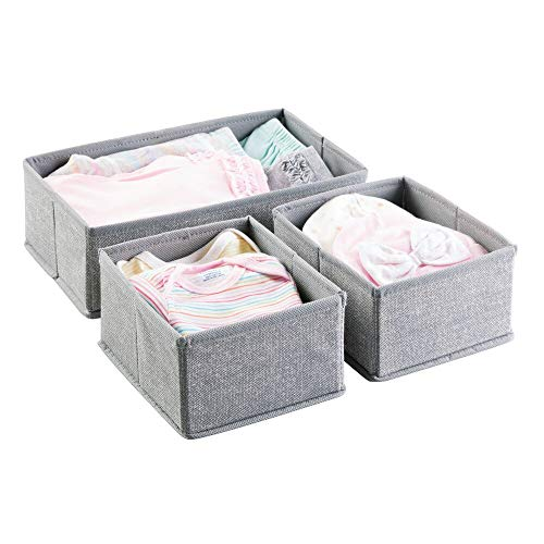 mDesign Aufbewahrungsbox 3er-Set - Drei Organizer in zwei Größen - Universelles Aufbewahrungssystem für Zubehör, z.B. Windeln, Tücher, Utensilien - grau