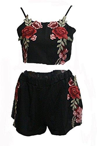 sentao-donne-floreale-stampato-estate-cime-crop-top-camicetta-e-pantaloni-corto-2pcs-set-nero-m