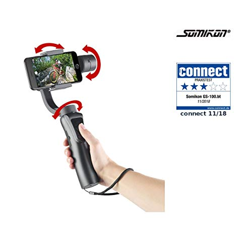 Somikon Gimbal: 3-Achsen-Hand-Stabilisator für Smartphones, Bluetooth, Objekt-Tracking (Handstabilisator) (Go Pro Cam Steady)