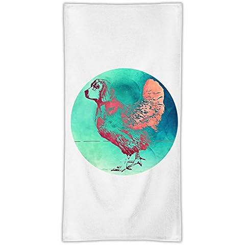 Chicken Dog Asciugamano in microfibra MicroFiber Towel W/ Custom Printed Designs| Eco-Friendly Material| Machine Washable| 50x100 cm | Premium Bathroom Supplies By 50x100 cm Hamerson