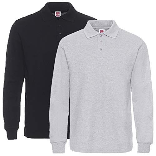 Feuchtigkeit Wicking Golf Polo (NeedBo Herren Langarm Casual Solid Golf Polo Shirt, Herren, 1 Black &1 Sport Gray, XX-Large)