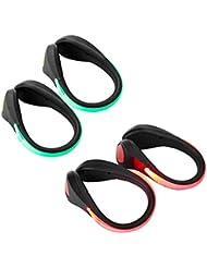 Shinmax Führte Schuhe Clip Blitz-Premium-Qualität Sicherheits-Licht Für alle Outdoor-Sportarten. Helle Mehrblitzmodus Strobe / Led Sicherheitsschuh Licht Hält Sie Sichtbar in der Nacht 2er-Pack (Grün / Schwarz+Rot / Schwarz)