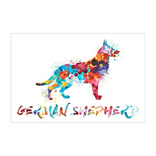 ArtsyCanvas German Shepherd Watercolor Splatter Art (24 x 16 Poster), 24