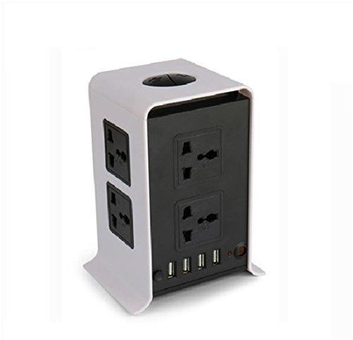 Power Strip Vertical Socket Board 2 Lagen 8 Buchsen 4 USB Extension Overload Schutz Lightning-Proof Buchse für Heim-und Büro-Appliances , black and white