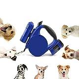 3 in 1 Retractable Hundeleine, Nylon One Button Brake für mittlere große Hund bis zu 14,8 mit LED - Licht Tasche Dispenser (blau)