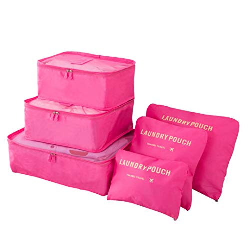Kono Sistema di Cubo di Viaggio, Cubo Borse di stoccaggio, 6 Pezzi Abbigliamento Intimo Abbigliamento Calzature Organizzatori Sacchi di Stoccaggio Set (Prugna)