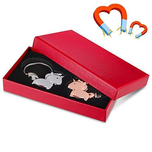 Llavero Par Amor, Llaveros Amante 1 Par Llaveros Unicornio con Boca Magnética, Aleación de Zinc Llavero Regalo para Pareja Amante, Color Negroy Rosa Dorado