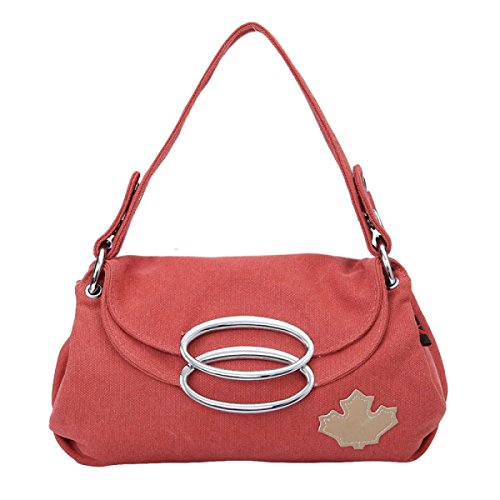 Dame Retro Segeltuch Beiläufiger Handtaschenbeutel-Schulterbeutel Kurierbeutel Kleiner Quadratischer Beutel Red
