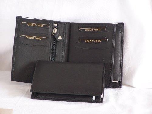 Portafoglio in vera pelle PORTEMONAIE 0046Mix-Gil, marrone nero