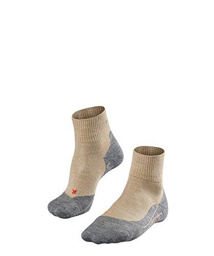 FALKE TK5 Short Damen knöchel-high Trekkingsocken / kurze Wandersocken - beige, Gr. 41-42, 1 Paar, leichte Polsterung, Merinowolle -