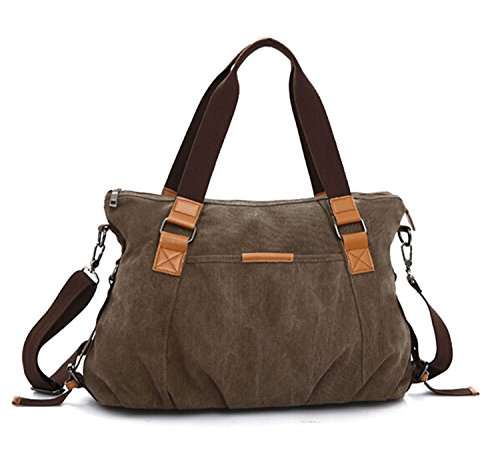 KISS GOLD Retro abwaschbare Damen Schultertasche Canvas Totes Hobo Bag, Kaffee (Tote Canvas Braun Bag)