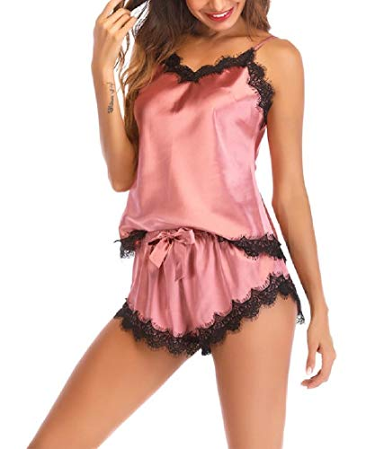 CuteRose Women's Summer Charmeuse Loungewear 2pcs Pajama Sleepwear Set Pink S Charmeuse-print-shorts