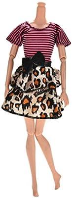 14cm longitud Hecho a mano Vestido de Vela Rosa negro rayas leopardo vestidos para muñecas princesa