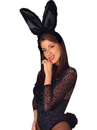 Bunny Black Kostüm Tail - Black Fluffy Bunny Adult Costume Ears And Tail Kit One Size