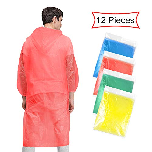 mit Kaputze für Damen Herren, 12PCS Einweg Regenmäntel Wasserdicht Regenjacken Notfallponchos Regencape Ideal für Konzert Draußen Freizeitparks Wandern Camping Angeln - 4 Color ()