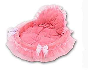 Maison Niche de Chien Amovible et Lavable Coussin Lit Panier en Coton très Doux Corbeille Princesse pour Chien Chiot Chat etc.M/L