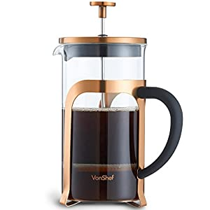 VonShef French Press Cafetière Copper/Gold Stainless Steel Glass - 8 Cup/1 Litre Coffee Maker …