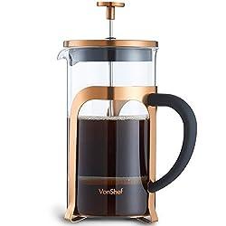 VonShef French Press 8 Tassen Kaffeebereiter Glas/Kupfer Cafetiere Kaffeekanne Teebereiter