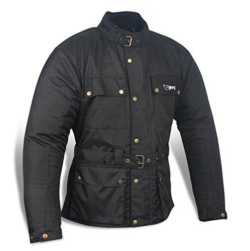 JET Chaqueta Moto Hombre Impermeable Textil con Armadura Vintage Retro Clásico (XL (EU 52-54), Negro)