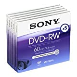 Sony DVD-RW 2.8Gb 8cm 60min Pk 4+1 rewritable mini dvd camcorder discs