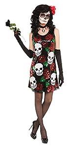 Forum Novelties 79428calavera y rosas, vestido de lentejuelas