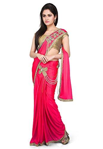 Aarti Saree Pre-Stitched Saree Lycra Saree in Dark pink With Un-Stitched Running...