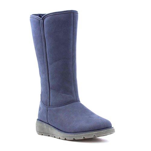Heavenly Feet le Genou Plat Bleu Haut Bottes des Femmes de Bleu