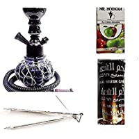 Bhola Ram Roshan Lal BRRL and Improved Combo of 12 inch Glass and Iron Hookah, 10 Charcoal Disk and Herbal Hookah Flavour Complete Hookah (12 cm, Black)