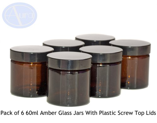 pack of 6 - 60ml amber glass jars with black lids for aromatherapy blends / creams